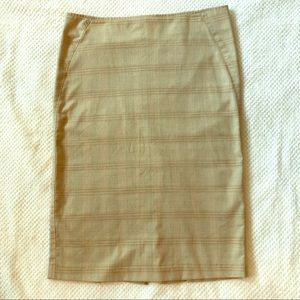 Khaki and pink plaid pencil skirt size 1